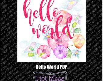 Hello World PDF - Baby Shower Gift PDF - PDF Digital Download