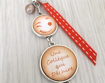 porte-clés bijou de sac à message une collègue qui déchire,orange,amie,copine , .REF.130