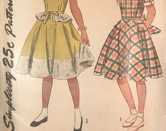 Vintage 40s Simplicity Pattern 2785 Girls' One Piece Dress With Detachable Peplum