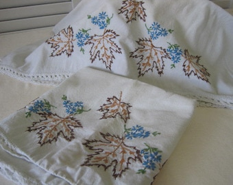 vintage Handmade Pillowcases Embroidered with Floral and Leaf Design