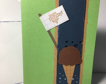 Ice cream cone birthday handmade card