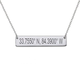 Personalized Coordinate Necklace Sterling Silver Latitude & Longitude Necklace Silver Bar Necklace Custom Coordinate Necklace
