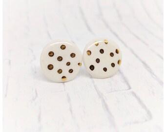 Porcelain earrings white and gold studs white and gold earrings gold studs polkadot earrings jewelry gift nickel free earrings gold luster