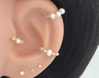 Pearl Cartilage Earring - Helix Earring - Tragus Earring - Small Pearl Cartilage Ring -Tiny Hoop -22g 20g 18g 16g - Gifts- Valentines Days