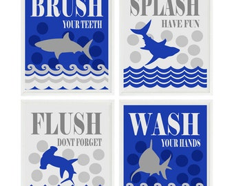 Shark Bathroom Wall Art, Kids Bathroom, Wash, Flush, Brush, Splash, Royal Blue, Gray, Shark Bathroom Theme, Shark Art, Boy Bathroom