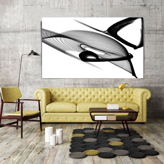 """Abstract Black and White 22-03-49. Unique Abstract Wall Decor, Large Contemporary Canvas Art Print up to 72"""" by Irena Orlov"""