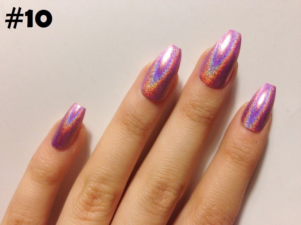 Holographic Coffin False Nails - 12 COLOR OPTIONS! - Set of 20 ...