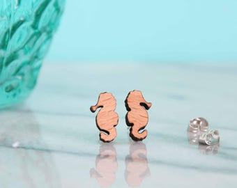 Seahorse Wooden Earring Studs