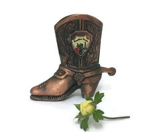 Vintage Copper Cowboy Boot - Houston Texas Souvenir - Toothpick Holder