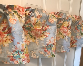 Sky Blue And Orange Peach Shabby Chic Flower Curtain Valance