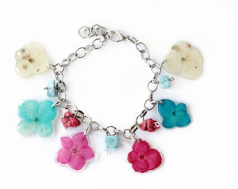 Pressed Flower Bracelet - Real Flower Jewelry - Pressed Flower Bracelet - Mothers Day Gift - Gift For her Under 30 - Spring Bracelet - OOAK
