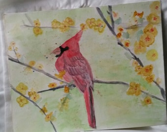 Original watercolor Painting Red Cardinal Waiting for his lady 11x14  Office Home Wall Art Decor Gift