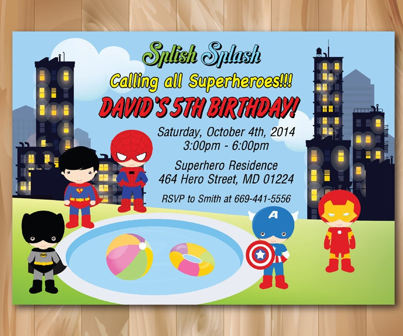 Superhero Pool Party Invitation. Super hero Birthday