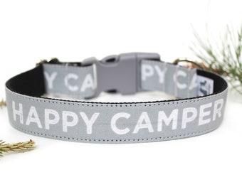 "Summer Dog Collar 1"" Happy Camper Dog Collar Boy Dog Collar"