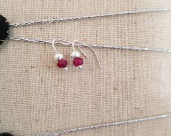 Tiny raspberry red ruby earrings. Gemmy little specks of natural faceted rubies accented with a silver sparkling bead. Great for everyday!