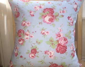 Shabby chic pillow - floral cushion cover, floral pillow cover, blue pillow cover, rose cushion cover, rose pillow cover - roses021
