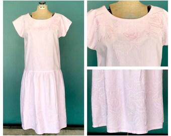 70s Baby Pink Embroidered Dress, Boho Dress, Embroidered, Festival Dress, Drop Waist, Summer Dress, Midi Dress, Cotton Dress, Small Medium