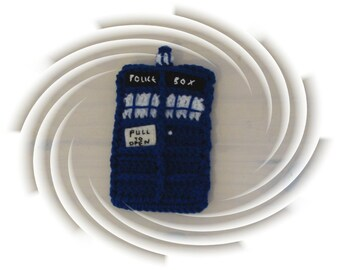 Geek  kindle android cell phone cozy Police Box made to order hand crochet