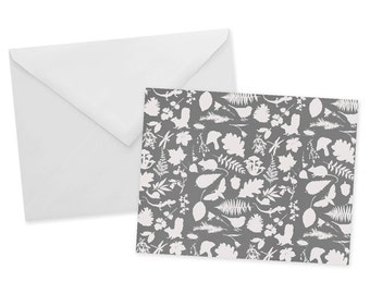 Botanical Woodland Card 1pc Blank Gray Note Card In The Woods