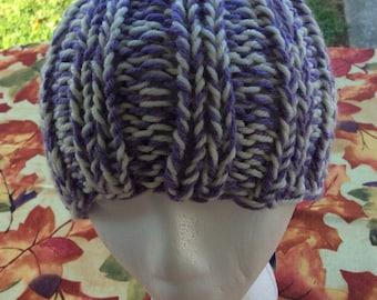 Cool purple and cream beanie