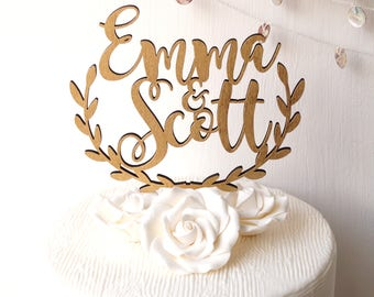 Wedding cake topper, personalized cake topper, rustic wooden cake topper, names cake topper, leaf border topper, your choice of wood