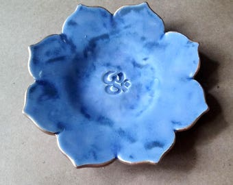 Ceramic Lotus Trinket Dish ring dish  gold edged Denim Blue edged in gold