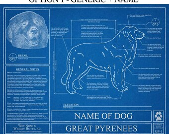 Personalized dog blueprints custom pet by wetnosewigglybutts personalized great pyrenees blueprint great pyrenees art great pyrenees wall art great pyrenees malvernweather Gallery