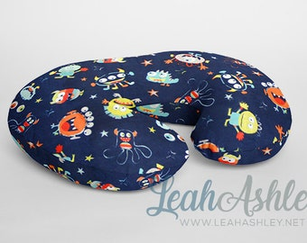 Minky Boppy® Pillow Cover - Navy Monsters with Navy Blue, Orange, Red, Apple Green, Opal, Breeze, Silver Gray Minky - BC1
