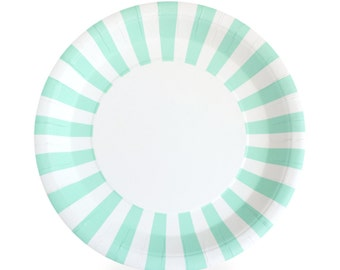 Plates | Mint Green & White Stripe Paper Plates 9"