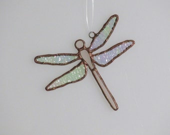 Pink Stained Glass Dragonfly Suncatcher (small)