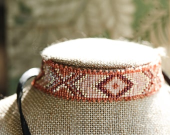 seed bead loomed choker necklace