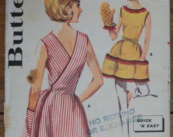 Vintage Apron Pattern Butterick 2516 Size Small