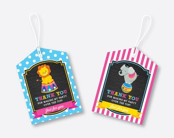 Instant Download, Circus Favor Tags, Circus Birthday Tags, Circus Thank You Tags, Gift Tags, Circus Party Printable, Girl,Chalkboard(CKB.90)