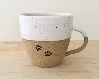 Paw Print Mug, Ceramic Mug, Pottery Mug, Pet Mug, Dog Lover, Cat Lover