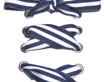 "THE SHOELACES SHOP-Navy & White Ribbon Shoelaces, Blue Shoelaces, Navy Shoelaces, Striped Shoelaces, White Shoelaces, ""Nice and Navy"""