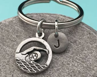 Swimmers keychain, swimmers charm, sports keychain, personalized keychain, initial keychain, initial charm, customized, monogram