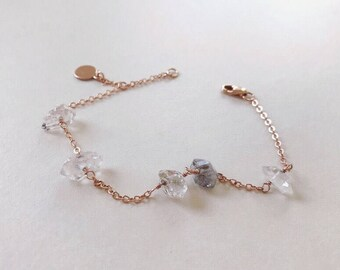 Raw Quartz l Herkimer Diamond Bracelet