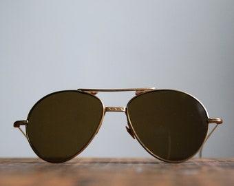 Vintage Aviator Sunglasses, Cable Temple Wrap, Unbranded, Dark Lens