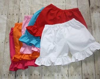 Solid ruffle shorts sz 12m, 18m, 24m/2t, 3, 4, 5, 6, 7, 8, 10, 12 Baby/Toddler/Girls