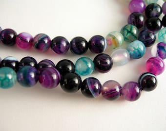 Purple turquoise agate 6mm 30 beads