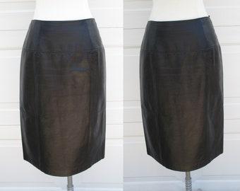 Black Leather Skirt Ellen Tracy Company 100% Leather Skirt Sz 4P Rocker Sassy Skirt