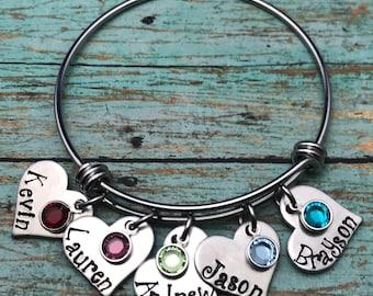 Mother or Grandmother heart charm birthstone bracelet // Mother's Day gift // Heart charm crystal bracelet