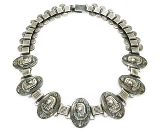 Vintage 1950s Egyptian Revival Silver Metal Pharaoh Panel Necklace