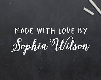 Made With Love By Stamp, Crafting Stamp, Custom Name Stamp, Made With Love, Gift For Crafter, Handmade By Stamp, Custom Rubber Stamp (S140)