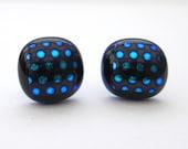 Handmade blue dichroic gl...