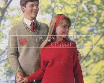 Teenager Raglan Sweater 12-16 Years Chunky Vintage Knitting Pattern PDF instant download