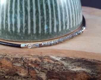 Sparkling Labradorite and Leather Necklace / Choker | Atelier Avera