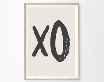 Art abstrait mur de typographie moderne | XO Wall Art Print | Boutique Decor | Impression d'Art minimaliste moderne maison bureau | Art mural chambre