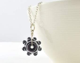Black Necklace, Long Necklace, Lampwork Pendant, Unusual Necklace, Unusual Jewellery, Gifts for Her, Australian made, FREE SHIPPING