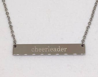 Cheerleader Necklace Silver,  Stainless Steel, Cheerleading Jewelry, Cheerleading Gift, Cheerleading Necklace, Cheer Gift, Cheer Coach